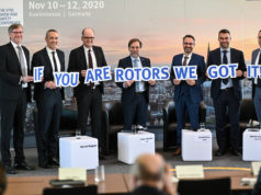 FlyEurope - FlyEurope-tv - EUROPEAN ROTORS (from left): Dr. Frank Liemandt, Showmanager European Rotors, Luc Bentolila, Airbus VP Marketing & Sales Development, Markus Greitemann, Commissioner of the City of Cologne for city development, construction and economy, Peter Moeller, Chairman European Helicopter Association (EHA), David Solar, Head of Rotorcraft and VTOL Department, European Union Aviation Safety Agency (EASA), Patrick Moulay, Bell senior vice president, Commercial Business – International, Francis Larribau, CEO of Safran Helicopter Engines Germany